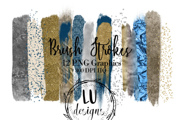 Gold Silver and Navy Blue Overlay Glitter Brush Strokes Grafik Texturen von Lu Designs