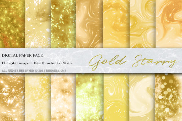 Download Free Gold Starry Digital Paper Graphic By Bonadesigns Creative Fabrica for Cricut Explore, Silhouette and other cutting machines.