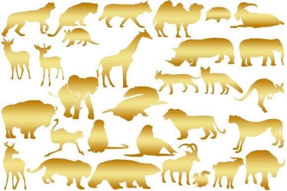 Download Free Gold Wild Animals Silhouettes Graphic By Retrowalldecor for Cricut Explore, Silhouette and other cutting machines.