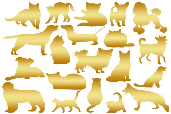 Download Free Gold Cats And Dogs Silhouette Graphic By Retrowalldecor for Cricut Explore, Silhouette and other cutting machines.