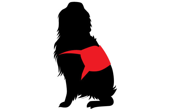 Download Free Golden Retriever Silhouette Wearing Service Dog Vest Svg Cut File for Cricut Explore, Silhouette and other cutting machines.