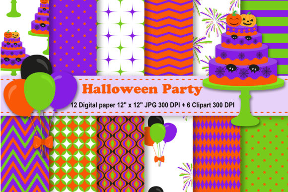 Print on Demand: Halloween Party Digital Paper Graphic Patterns By CosmosFineArt