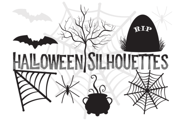 Download Free Halloween Silhouette Shapes Set Grafik Von Sonyadehart for Cricut Explore, Silhouette and other cutting machines.