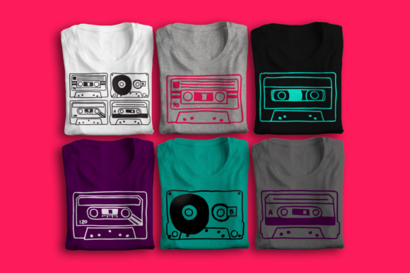 Hand Drawn Cassette Tapes SVG Set Graphic Crafts By RisaRocksIt