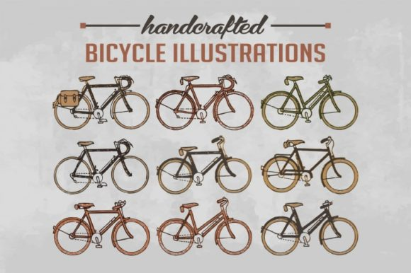 Print on Demand: Handcrafted Vector 9 Different Bicycle Vintage Illustrations Gráfico Ilustraciones Por bywahtung