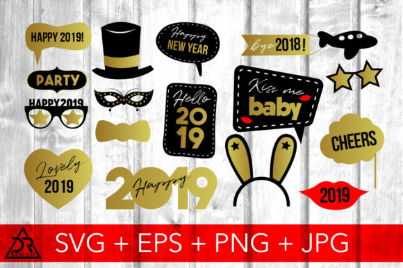Print on Demand: Happy 2019 Photo Booth Props Graphic Illustrations By davidrockdesign