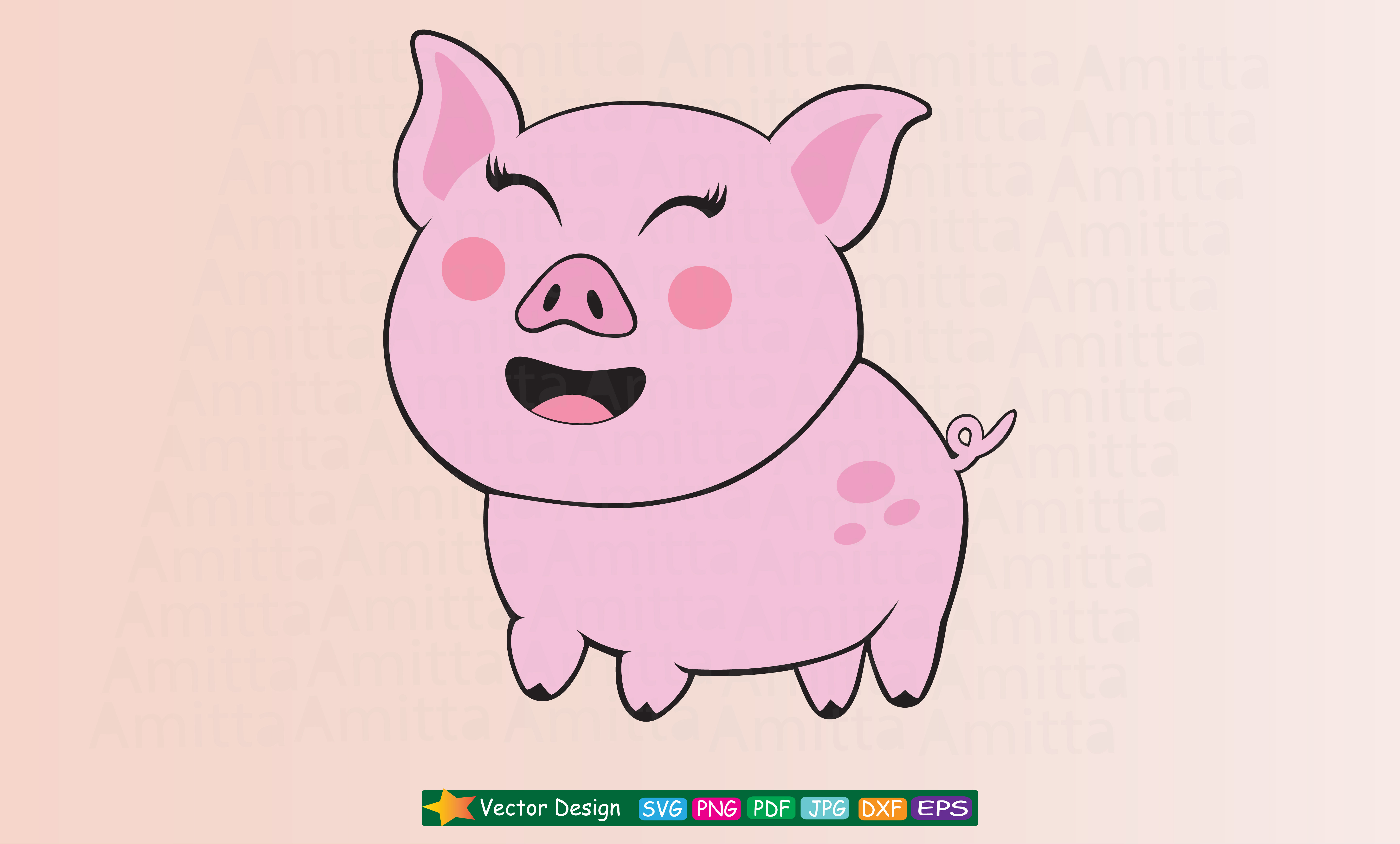 Download Free Happy Pig Cut File Graphic By Amitta Creative Fabrica for Cricut Explore, Silhouette and other cutting machines.