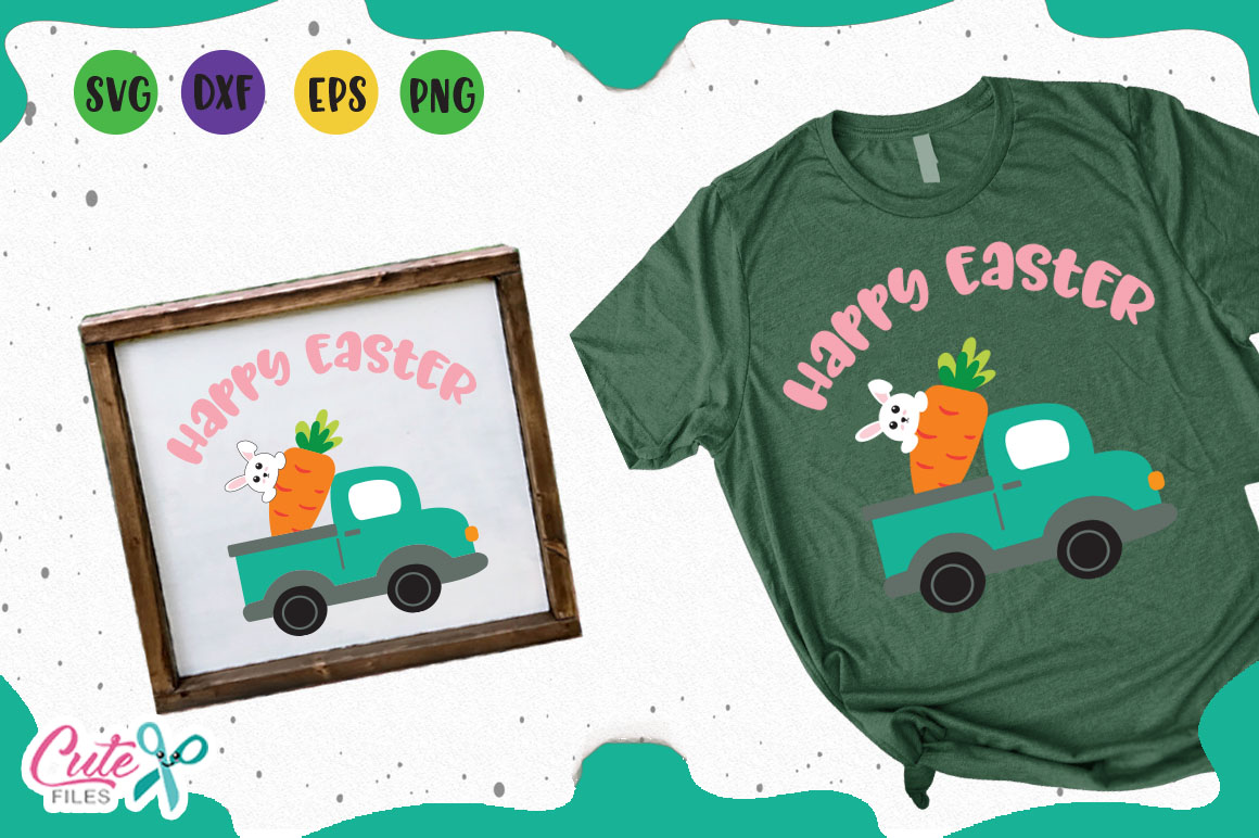 Download Free Happy Easter Truck Svg Graphic By Cute Files Creative Fabrica for Cricut Explore, Silhouette and other cutting machines.