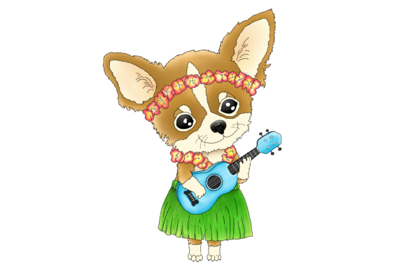 Hawaiian Chihuahua Playing a Ukulele Graphic By Jen Digital Art Image 2