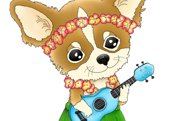 Hawaiian Chihuahua Playing a Ukulele Graphic By Jen Digital Art Image 3
