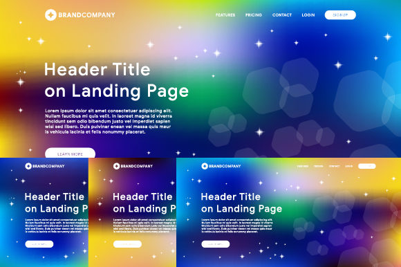 Header of Website Template with Gradient Mesh Background Graphic Websites By MrBrahmana