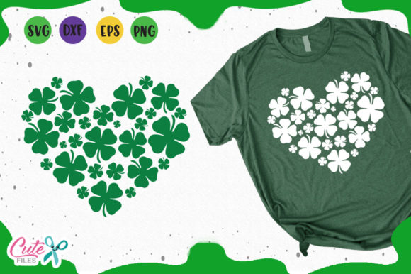 Heart Shamrock Graphic Illustrations By Cute files