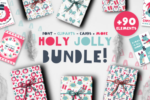 Holy Jolly Bundle + 90 Elements! Graphic By Latin Vibes