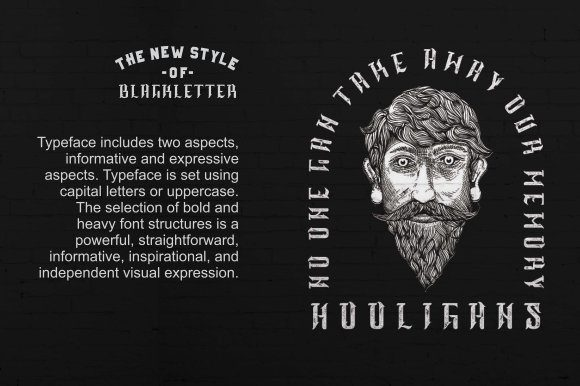 Print on Demand: Hooligans Blackletter Font By sanggravis - Image 2