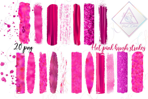 Print on Demand: Hot Pink Brush Strokes Clipart Graphic Illustrations By fantasycliparts