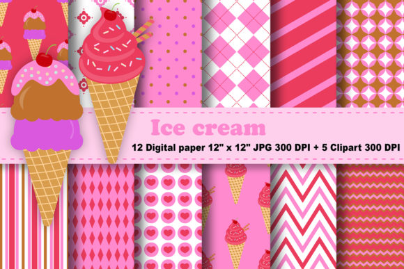 Print on Demand: Ice Cream Digital Paper Graphic Patterns By CosmosFineArt