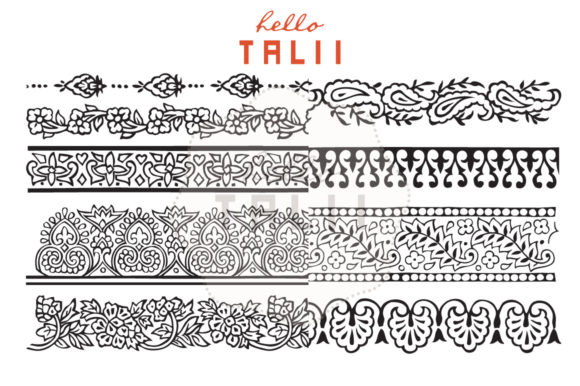 Download Free Indian Style Borders Clip Art Ps Brushes Graphic By Hello Talii Creative Fabrica for Cricut Explore, Silhouette and other cutting machines.