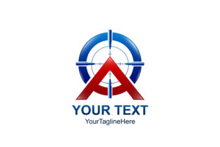 Download Free Initial Letter A Logo Template Colored Red Blue Target Design For for Cricut Explore, Silhouette and other cutting machines.