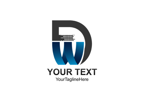 Download Free Initial Letter Dw Logo Template Colored Grey Blue Design For for Cricut Explore, Silhouette and other cutting machines.