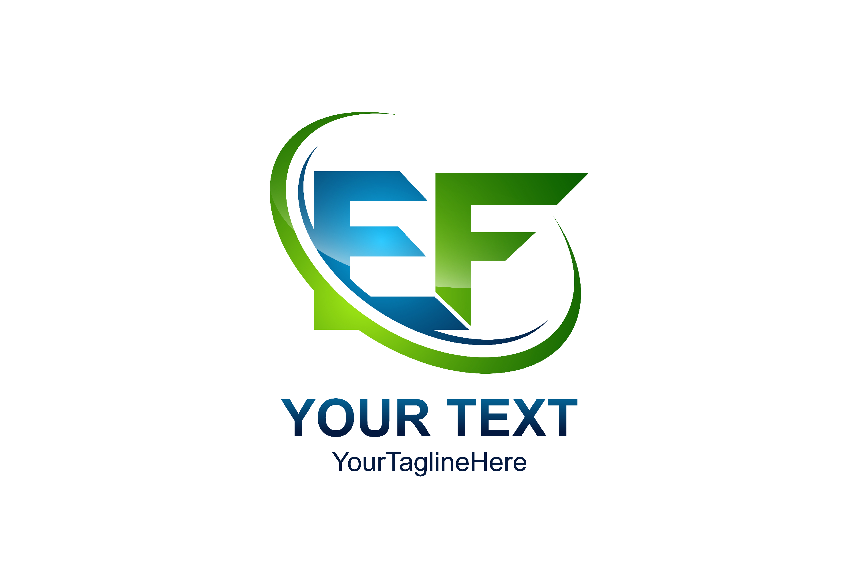 Download Free Initial Letter Ef Logo Template Colored Green Blue Swoosh Design for Cricut Explore, Silhouette and other cutting machines.