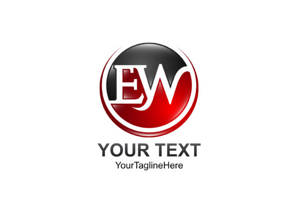 Download Free Initial Letter Ew Logo Template Colored Red Black Circle Swoosh for Cricut Explore, Silhouette and other cutting machines.