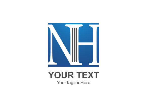 Download Free Initial Letter Nh Logo Template Colored Blue Square Design For for Cricut Explore, Silhouette and other cutting machines.