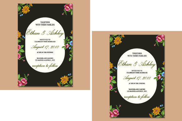Print on Demand: Invitation with Floral Pattern Frame Graphic Print Templates By iop_micro