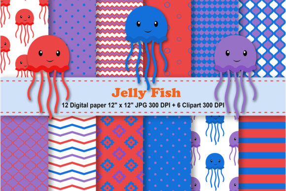 Print on Demand: Jelly Fish Digital Paper Graphic Patterns By CosmosFineArt