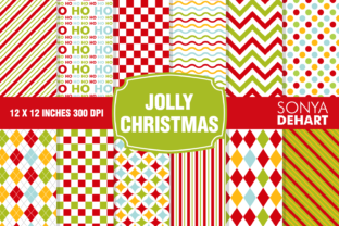 Print on Demand: Jolly Christmas Digital Paper Background Patterns Graphic Patterns By sonyadehart