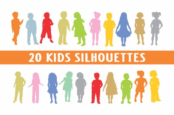Print on Demand: Kids Silhouettes in Vector 20 Files Graphic Illustrations By bywahtung
