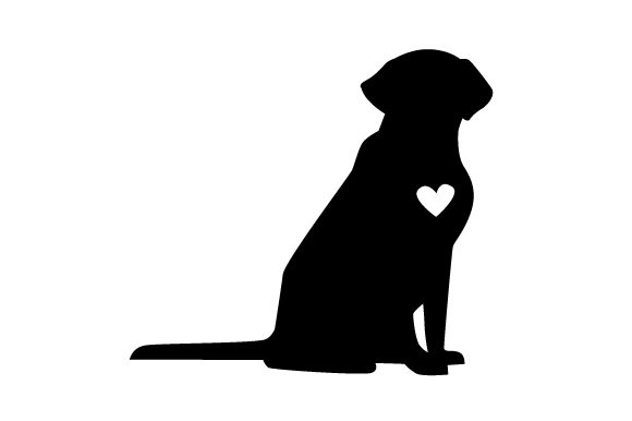 Download Free Labrador Silhouette In Black With A White Heart On His Chest Svg for Cricut Explore, Silhouette and other cutting machines.