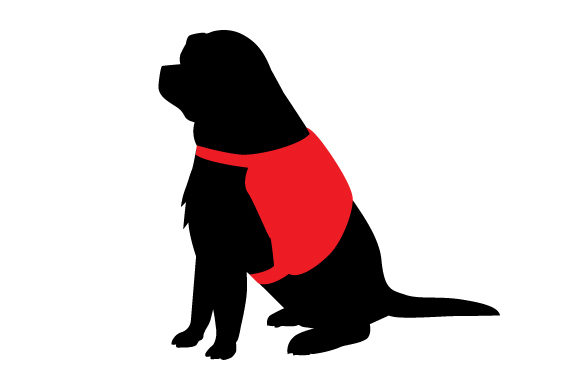 Download Free Labrador Silhouette Wearing Service Dog Vest Svg Cut File By for Cricut Explore, Silhouette and other cutting machines.