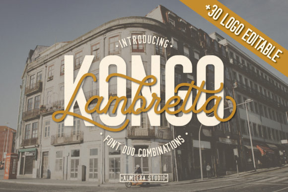 Print on Demand: Lambretta Kongo Duo Script & Handwritten Font By Almeera Studio