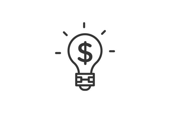 Download Free Dollar Lightbulb Icon Graphic By Rudezstudio Creative Fabrica for Cricut Explore, Silhouette and other cutting machines.