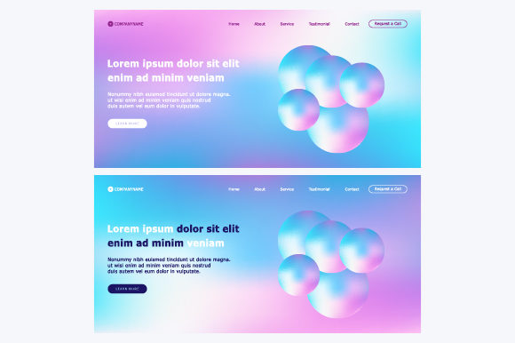 Landing Page with Abstract Colorful Background Graphic By MrBrahmana