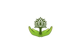 Download Free Leaf Tree Hand Care Logo Designs Graphic By Yahyaanasatokillah for Cricut Explore, Silhouette and other cutting machines.