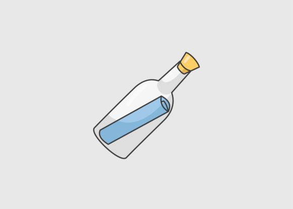 letter in a bottle graphics