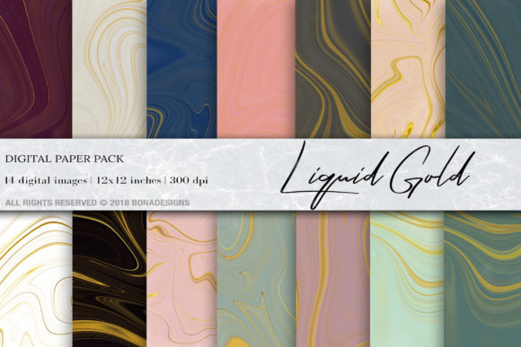 Liquid Gold Marble Digital Paper Graphic Backgrounds By BonaDesigns