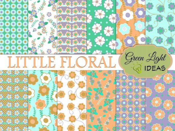 Little Floral Digital Papers Graphic Patterns By GreenLightIdeas