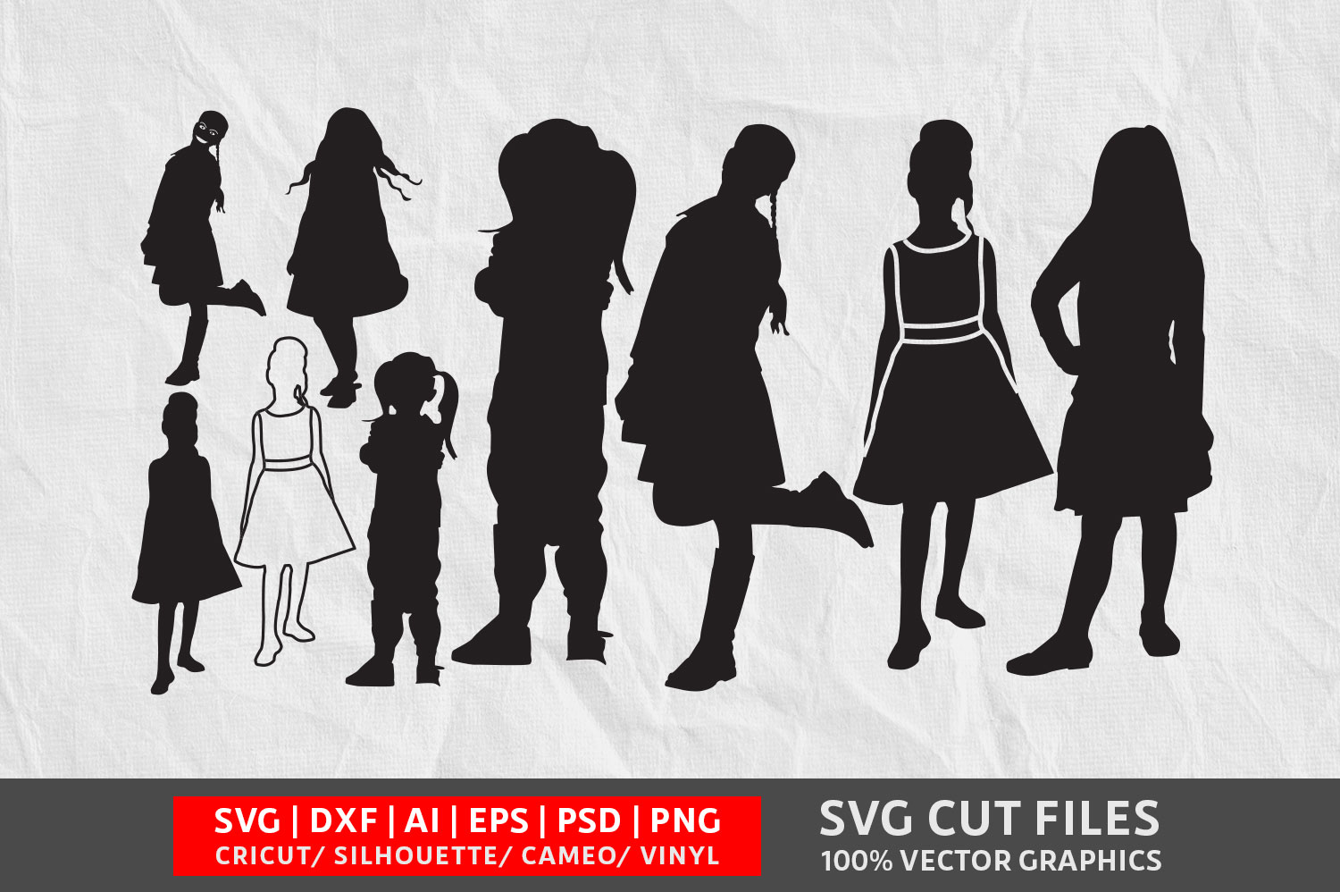 Download Free Little Girl Graphic By Design Palace Creative Fabrica for Cricut Explore, Silhouette and other cutting machines.