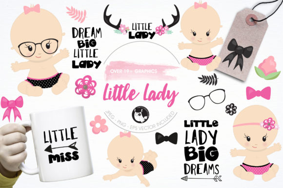 Print on Demand: Little Lady Clipart Set Graphic Illustrations By Prettygrafik