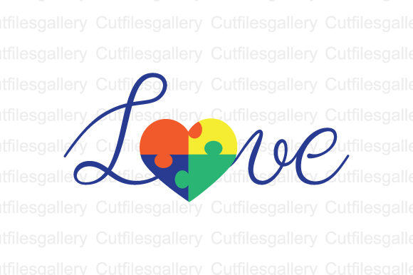 Download Free Love Autism Graphic By Cutfilesgallery Creative Fabrica for Cricut Explore, Silhouette and other cutting machines.