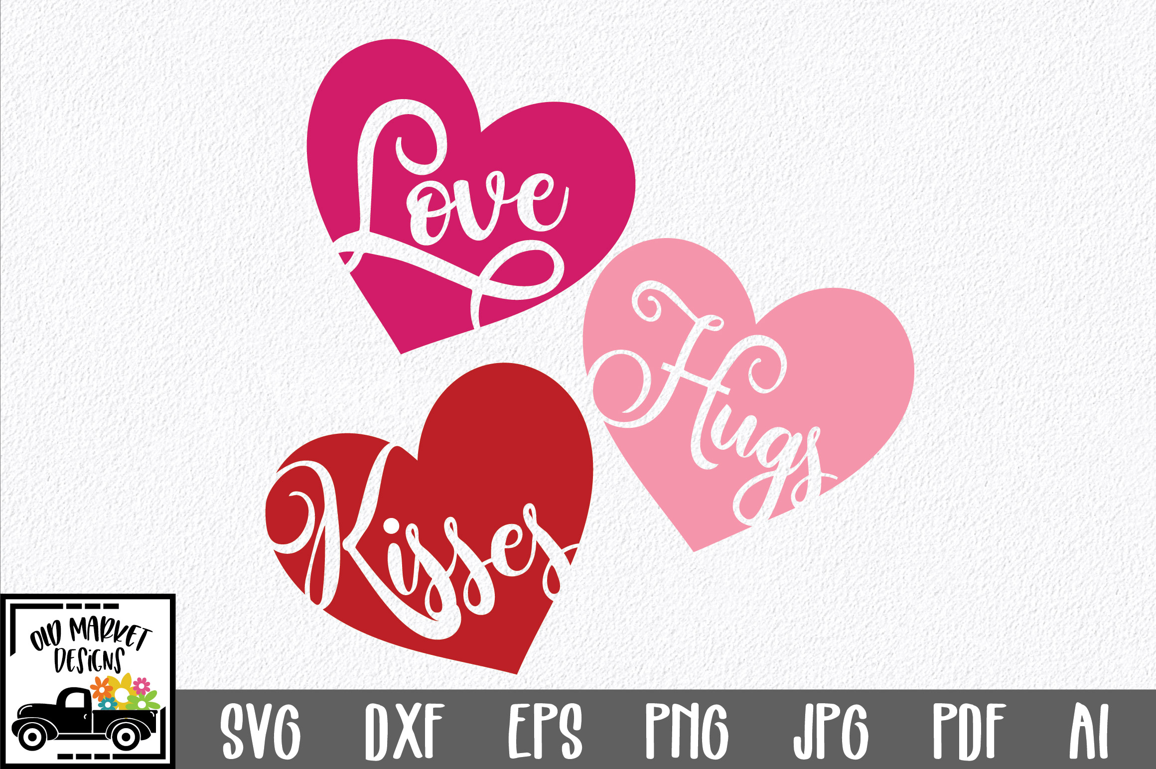 Download Free Love Hugs Kisses Svg Graphic By Oldmarketdesigns Creative Fabrica for Cricut Explore, Silhouette and other cutting machines.