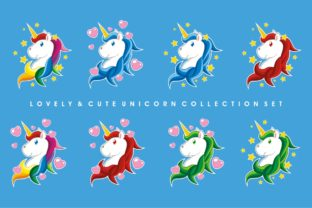 Download Free Lovely Cute Unicorn Collection Set Graphic By Azkaryzki for Cricut Explore, Silhouette and other cutting machines.