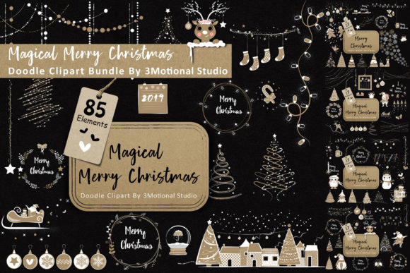 Print on Demand: Magical Merry Christmas Doodle Clip Art Bundle Grafik Objekte von 3Motional