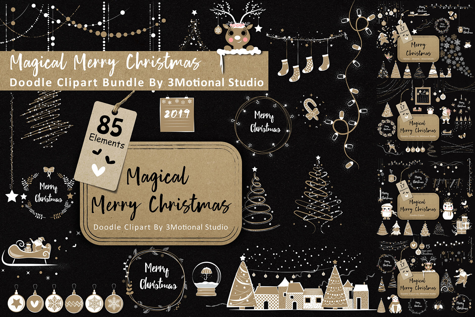 Download Free Magical Merry Christmas Doodle Clip Art Bundle Graphic By for Cricut Explore, Silhouette and other cutting machines.