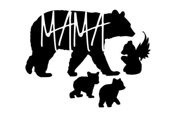 Download Free Mama Bear With Baby And Angel Bears Svg Graphic By Studio 26 for Cricut Explore, Silhouette and other cutting machines.