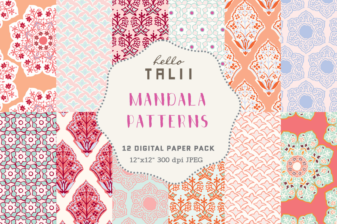 Download Free Mandala Digital Paper Graphic By Hello Talii Creative Fabrica for Cricut Explore, Silhouette and other cutting machines.
