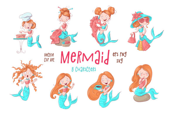 Print on Demand: Mermaid Graphic Illustrations By nicjulia