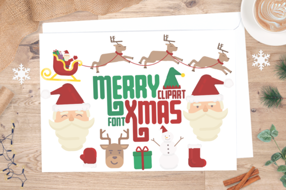 Print on Demand: Merry Xmas Clipart + Font Graphic Illustrations By arausidp
